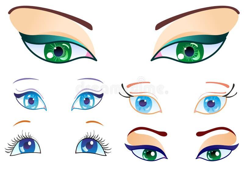 установленные глаза иллюстрация вектора