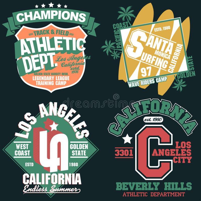 Установленные графики, эмблема футболки Калифорнии оформления носки спорта бесплатная иллюстрация