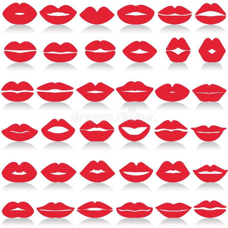 Установленные губы изолированными бесплатная иллюстрация