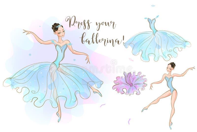 установленные девушки Кукла балерины и набор одежд сделанных из 2 платьев вектор иллюстрация штока