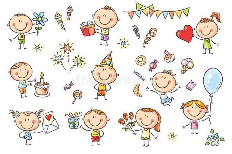 Установленные дети вечеринки по случаю дня рождения иллюстрация штока
