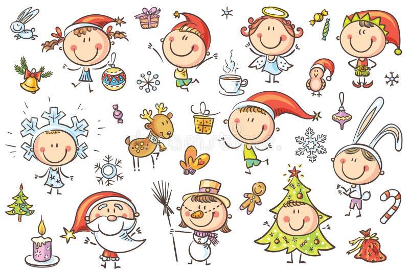 Установленные дети рождества иллюстрация штока