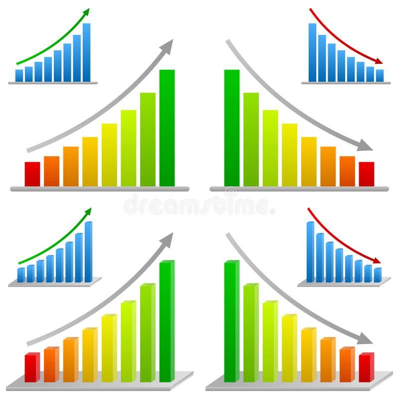 установленные диаграммы дела штанги иллюстрация вектора