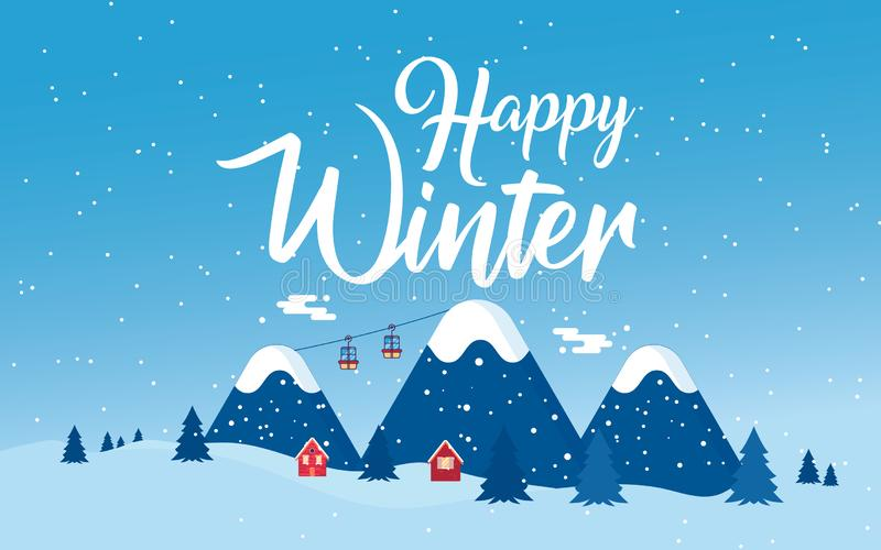 Установленные дом снега шаржа и сельские коттеджи иллюстрация штока