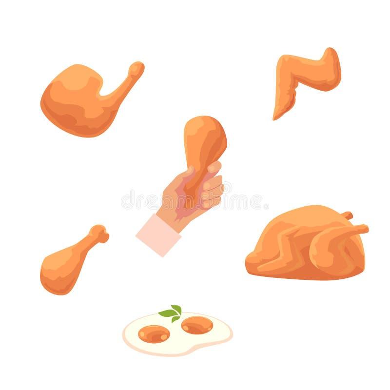 Установленные еды цыпленка вектора плоские иллюстрация вектора