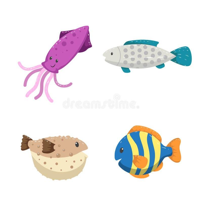 Установленные животные моря и океана ультрамодного дизайна шаржа различные Кальмар, striped рыбы цвета, blowfish и серый цвет пос бесплатная иллюстрация