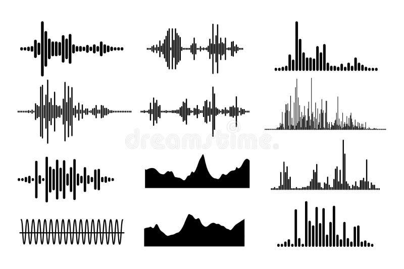 Установленные звуковые войны музыки Бар музыки Радио сигнала также вектор иллюстрации притяжки corel иллюстрация штока