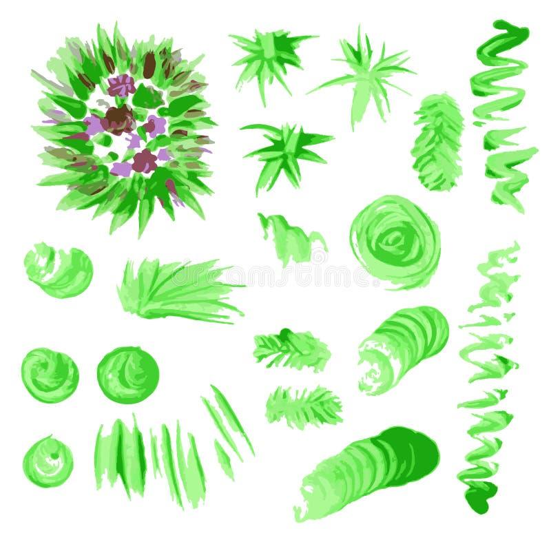 Установленные зеленые пятна падения текстуры бумаги акварели иллюстрация штока