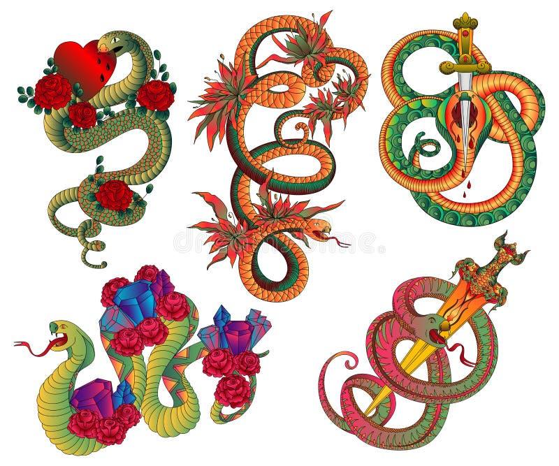 Установленные змейки Дизайн татуировки старой школы Черно-белые изолированные элементы иллюстрация вектора