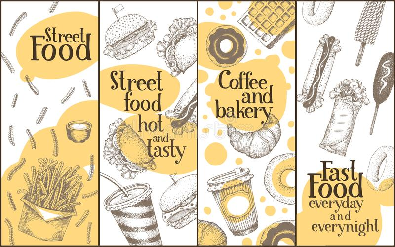 Установленные знамена вектора еды улицы Иллюстрации нарисованные рукой в винтажном стиле эскиза Может быть польза для кафа фаст-ф иллюстрация штока