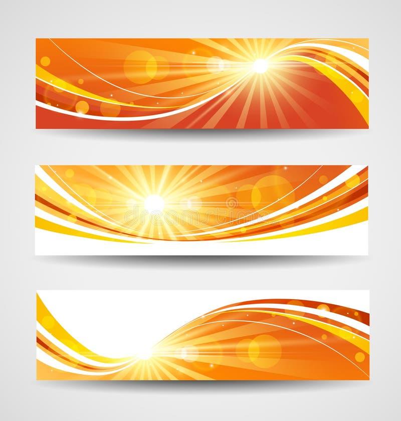 Установленные знамена осени иллюстрация вектора