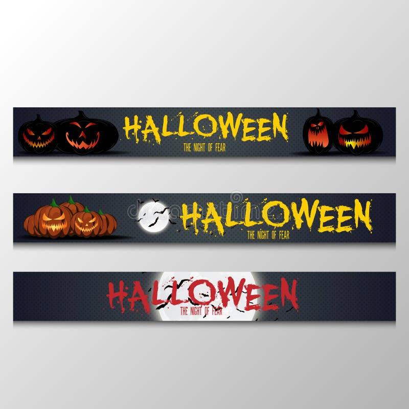 Установленные знамена хеллоуина шаржа Grunge ввел горизонтальные знамена в моду хеллоуина с оформлением ` хеллоуина ` счастливым  иллюстрация вектора