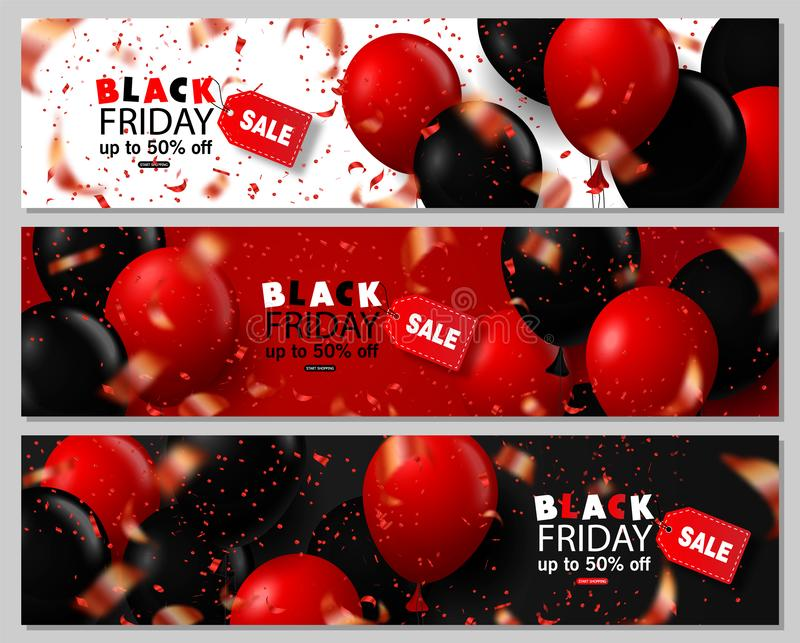 Установленные знамена черной продажи пятницы горизонтальные Лоснистые воздушные шары летая на белой, черной и красной предпосылке бесплатная иллюстрация