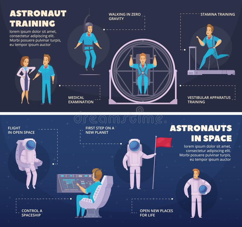 Установленные знамена шаржа полета в космос 2 бесплатная иллюстрация