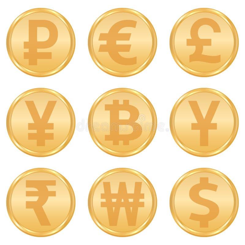 Установленные значки валюты бесплатная иллюстрация