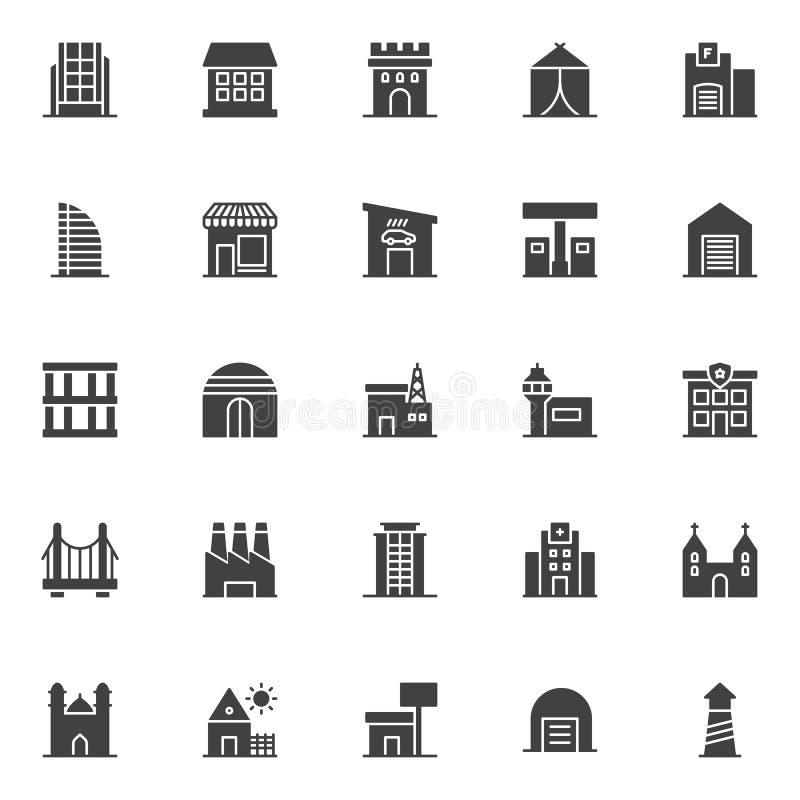 Установленные значки вектора зданий иллюстрация вектора