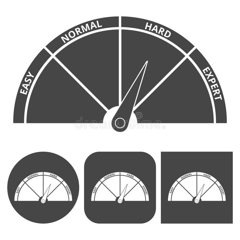 Установленные значки вектора значка масштаба трудно- иллюстрация штока