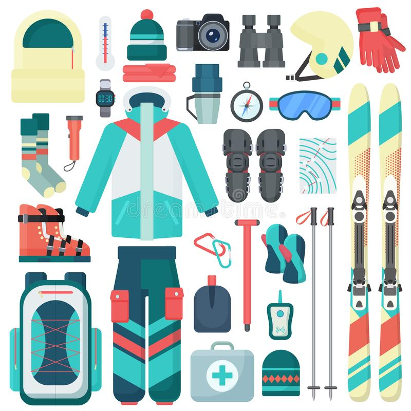 Установленные значки вектора оборудования катания на лыжах зимы Изолированное оборудование деятельности при горы спорта перемещен бесплатная иллюстрация