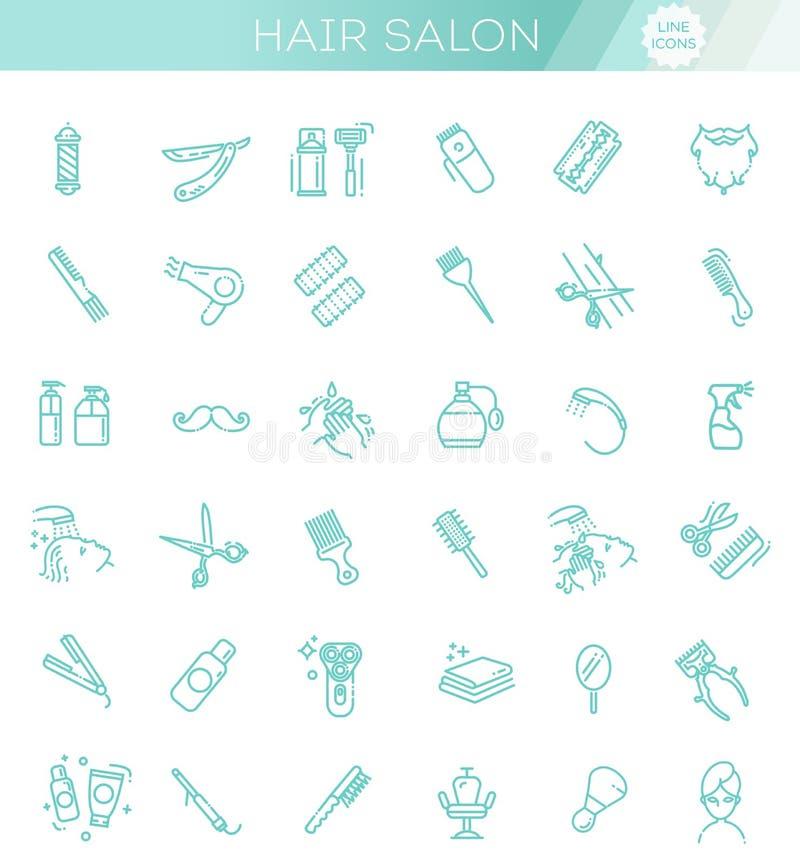 Установленные значки вектора парикмахерскаи и салона красоты иллюстрация вектора