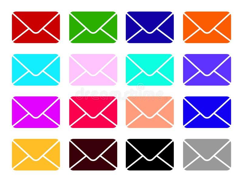 Установленные значки вектора почты Знак конверта Покрасьте электронную почту и пометьте буквами иллюстрацию значка изолированную  иллюстрация вектора