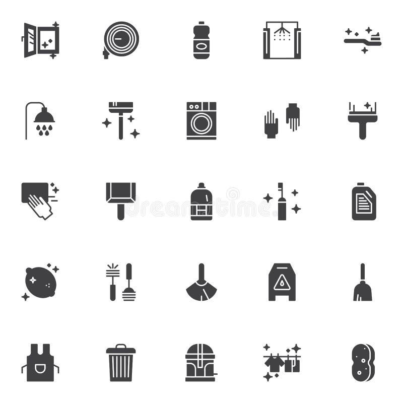 Установленные значки вектора уборки бесплатная иллюстрация