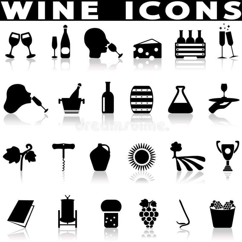 Установленные значки винных изделий иллюстрация вектора