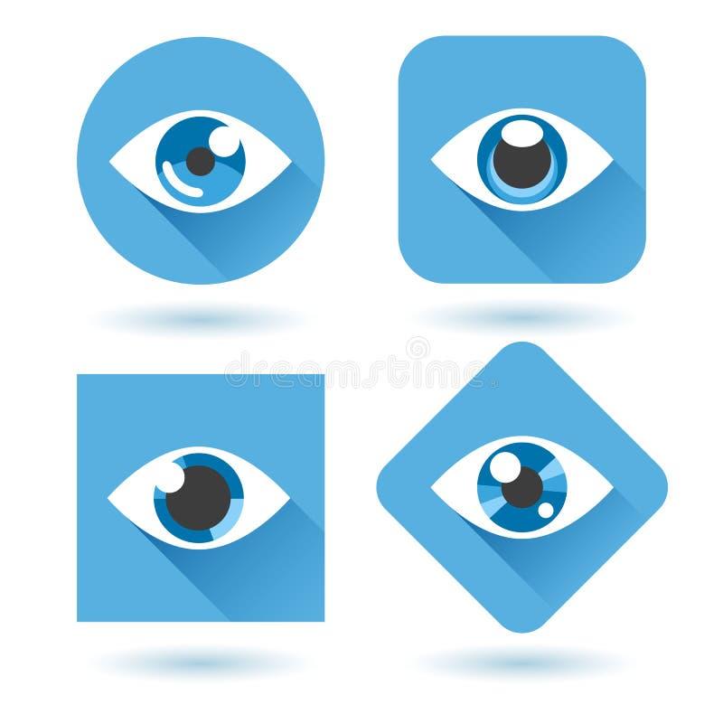 Установленные значки глаза голубые плоские иллюстрация вектора