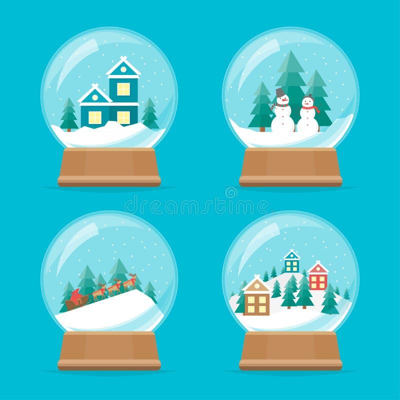 Установленные значки глобуса снега шаржа вектор иллюстрация вектора