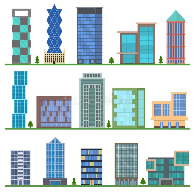 Установленные значки зданий шаржа вектор бесплатная иллюстрация