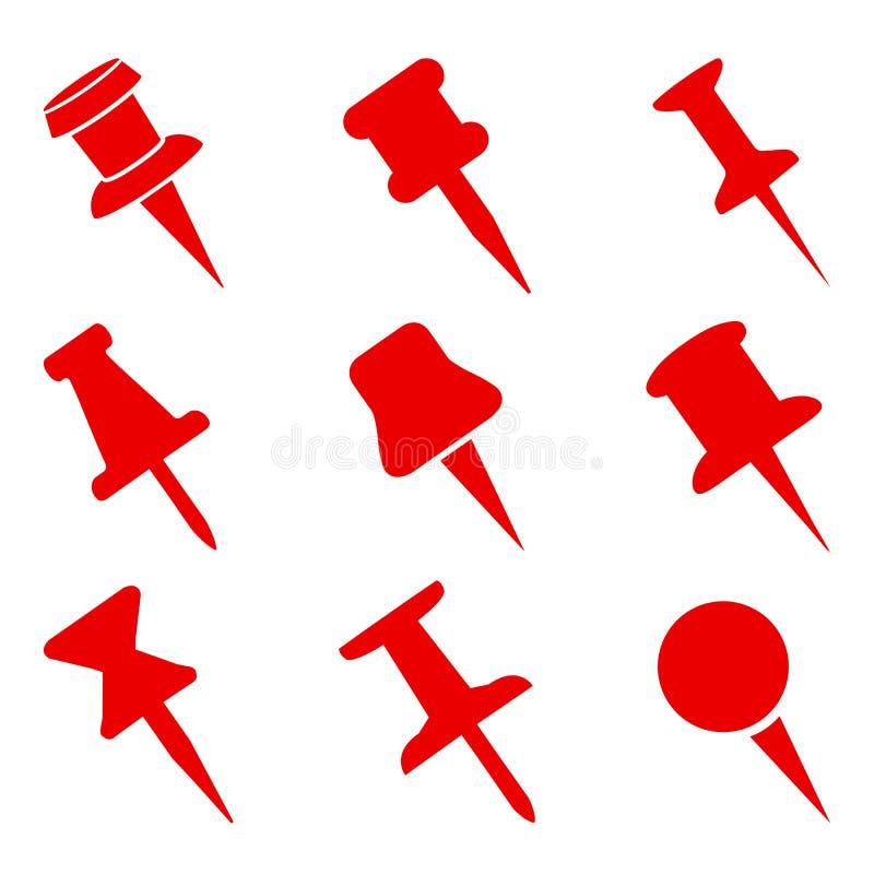 Установленные значки знака штыря нажима для вебсайта, страницы и мобильного элемента дизайна приложения Штыри нажима приколотые в иллюстрация штока
