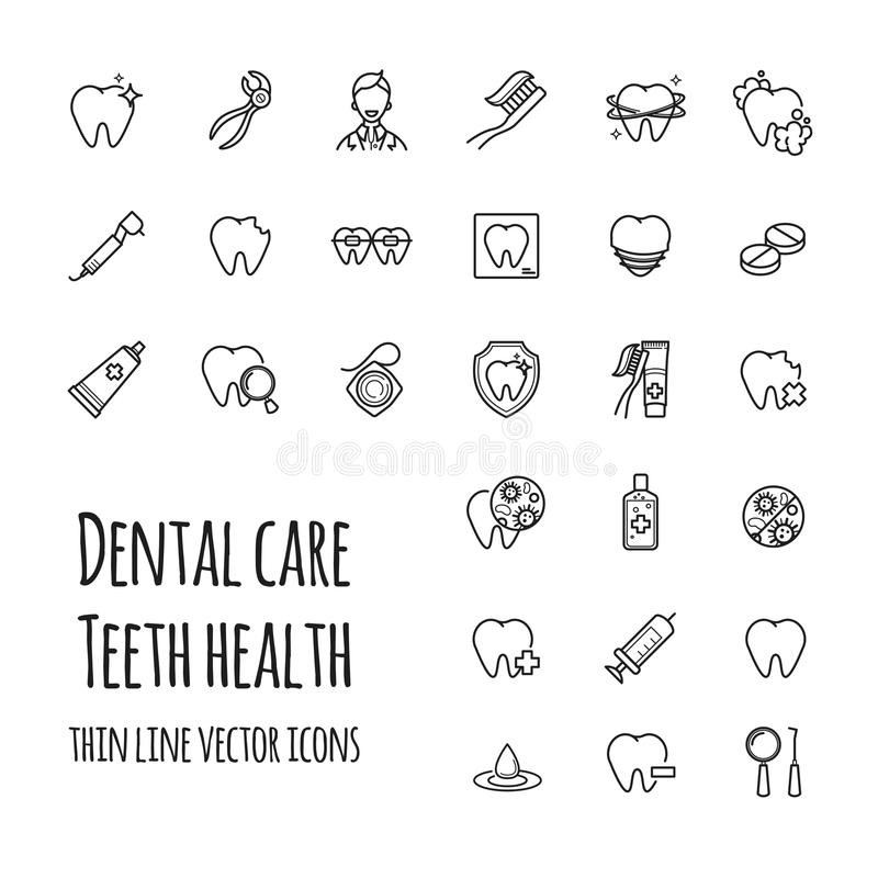 Установленные значки зубоврачебной заботы вектора Тонкая линия значки здоровья зубов, зубоврачевания, медицины иллюстрация штока
