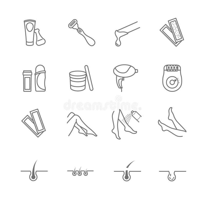 Установленные значки инструментов удаления волос иллюстрация штока