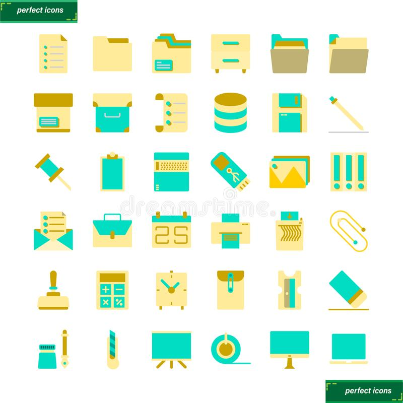 Установленные значки канцелярские товара плоские стоковая фотография rf