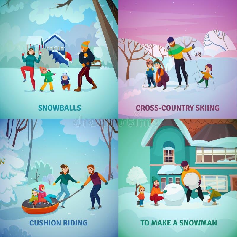 Установленные значки концепции воссоздания зимы иллюстрация вектора