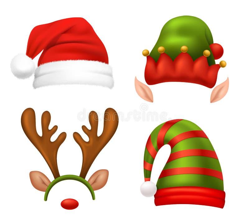 Установленные значки концепции Санта Клауса иллюстрация вектора