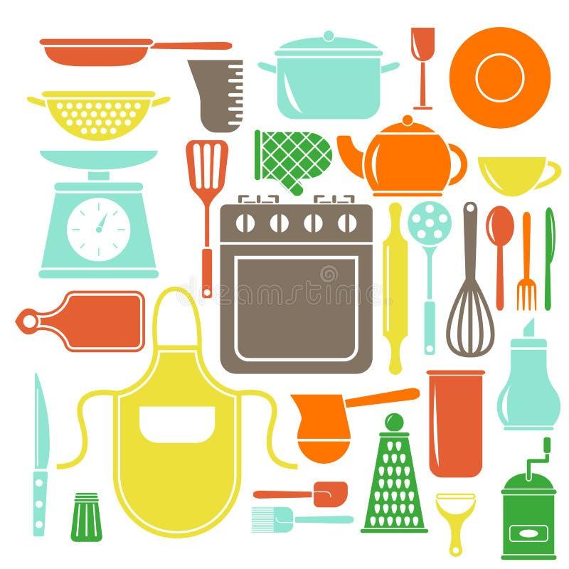 Установленные значки кухни вектора красочные Плоский стиль варя элементы иллюстрация вектора