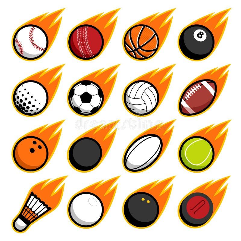 Установленные значки логотипа шариков спорта игры летания огня вектора бесплатная иллюстрация