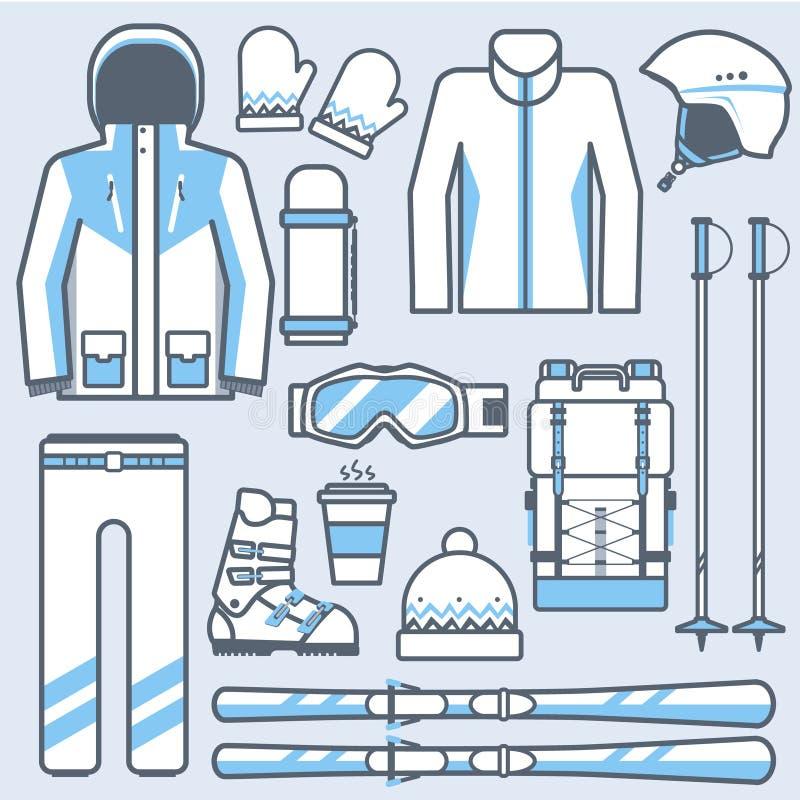 Установленные значки лыжи Шестерня катания на лыжах горы и собрание аксессуаров Спорт зимы и вектор оборудования катания на лыжах иллюстрация штока