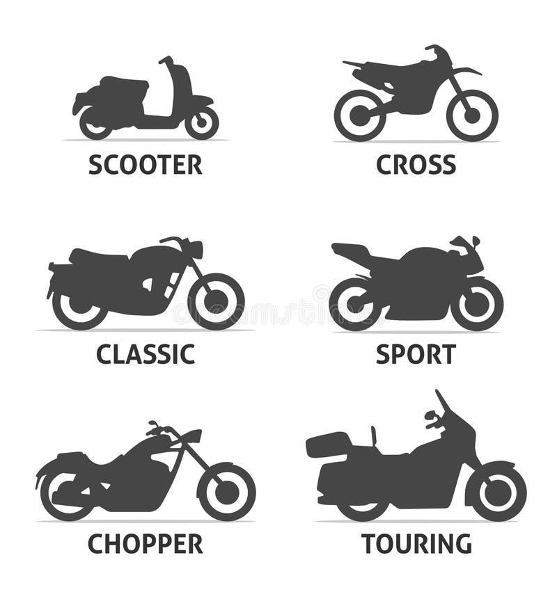 Установленные значки объектов типа и модели мотоцикла иллюстрация штока