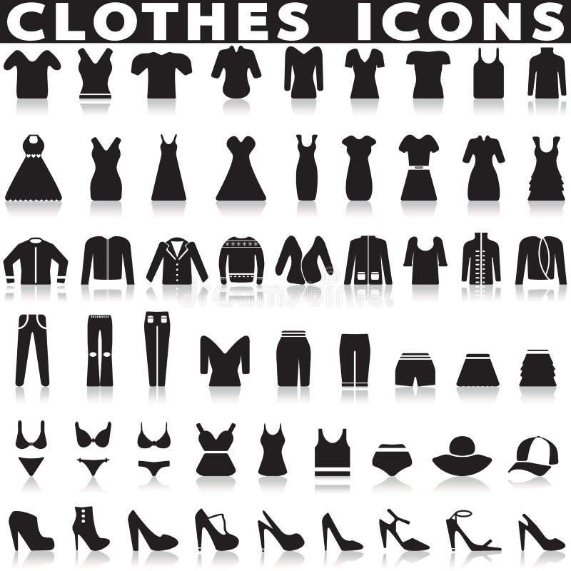 Установленные значки одежд иллюстрация вектора