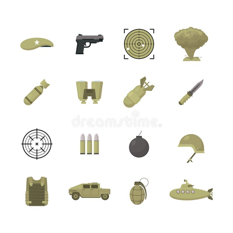 Установленные значки оружий армии цвета шаржа вектор иллюстрация вектора