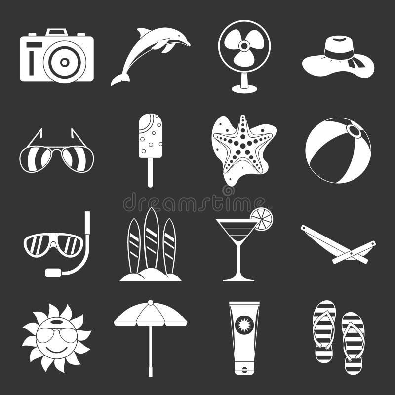 Установленные значки остатков лета серыми бесплатная иллюстрация
