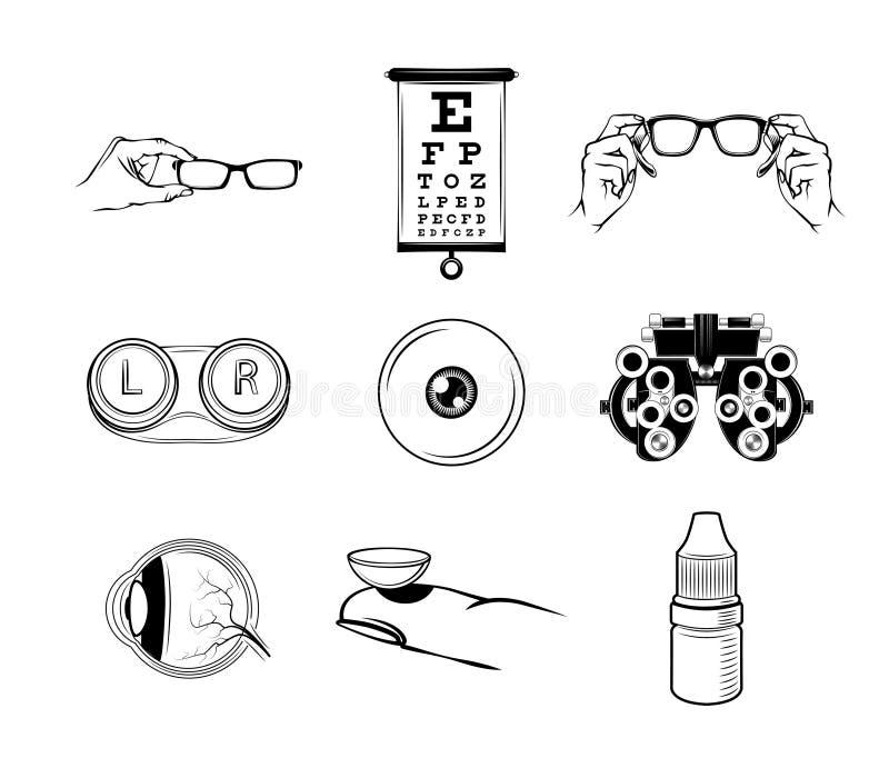 Установленные значки офтальмолога Эмблема ярлыка логотипа Oculist также вектор иллюстрации притяжки corel бесплатная иллюстрация