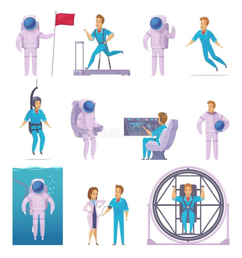 Установленные значки персонажа из мультфильма астронавта бесплатная иллюстрация