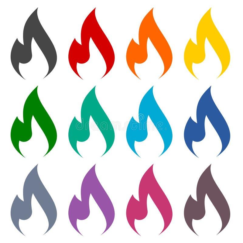 Установленные значки пламени газа иллюстрация штока