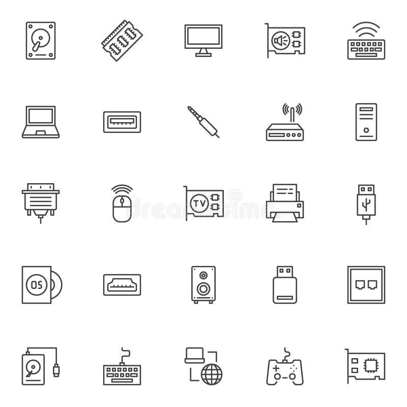 Установленные значки плана компонентов компьютера бесплатная иллюстрация