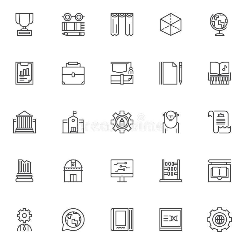 Установленные значки плана образования и знания бесплатная иллюстрация