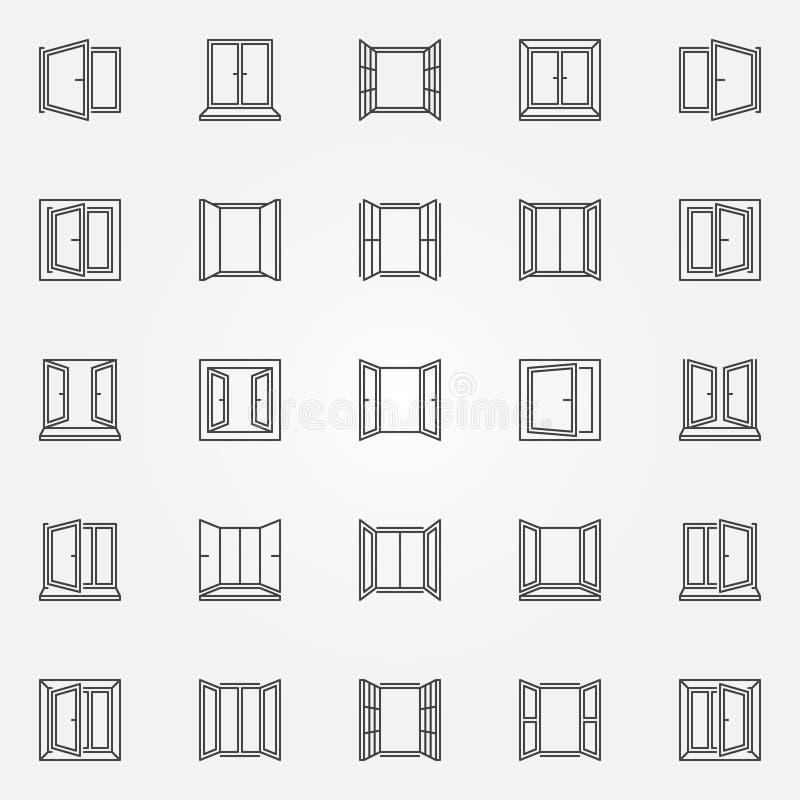 Установленные значки плана окна Символы открытых окон вектора иллюстрация вектора