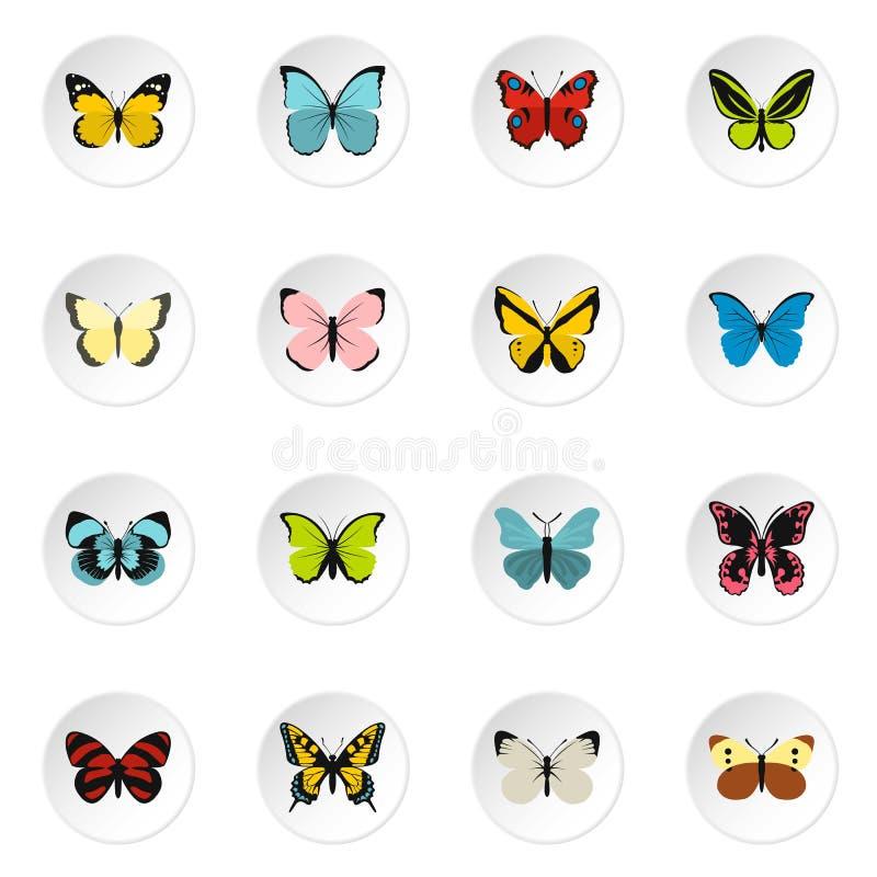 Установленные значки, плоский стиль бабочки иллюстрация штока