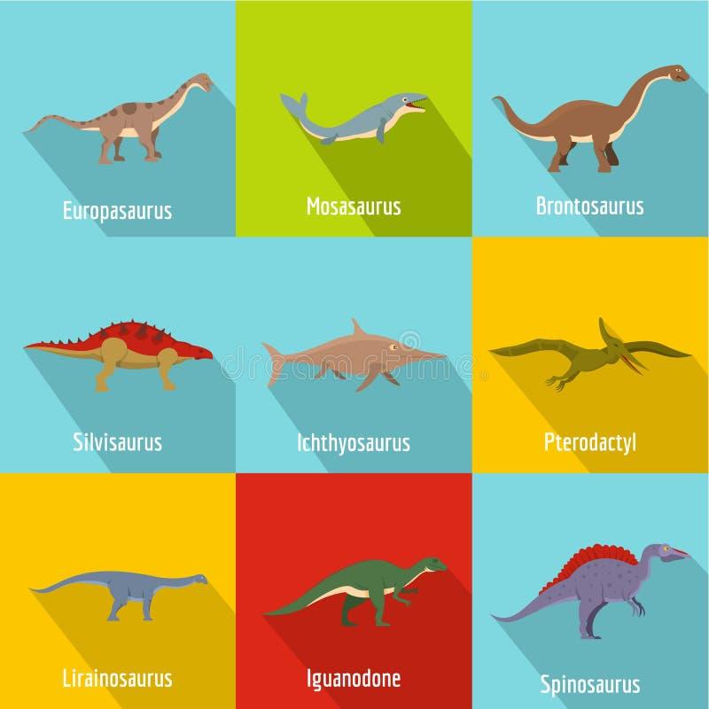 Установленные значки, плоский стиль динозавра иллюстрация вектора